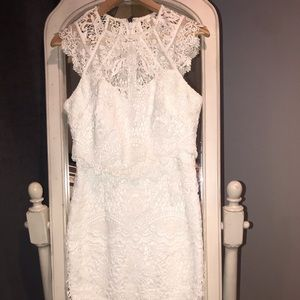 White lace above the knee dress
